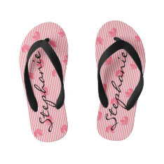 Pink Hearts & Stripes Kid's Flip Flops at Zazzle
