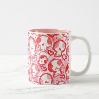 Pink Hearts & SugarSkulls Two-Tone Coffee Mug
