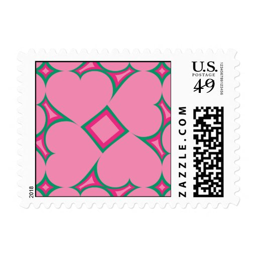 Pink hearts surround pattern 4 stamps
