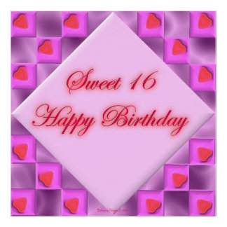 Pink Hearts Sweet 16 Birthday Poster