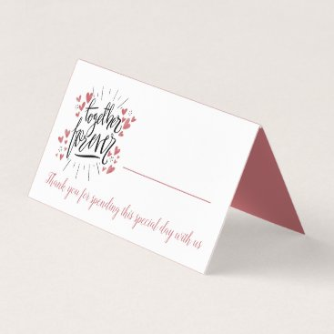 Wedding Themed Pink Hearts Together Forever Thank You Wedding Place Card