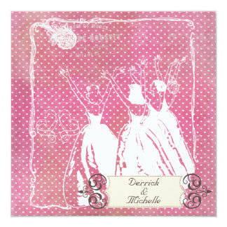 Pink Hearts Toss the Bouquet Wedding Invite