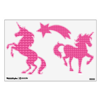 Pink Hearts Unicorn Wall Decals