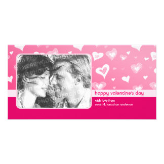 Pink Hearts Valentine's Day photo card