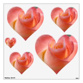 Pink Hearts wall Decals Pink rose Flower custom