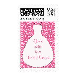 Pink hearts wedding dress bridal shower stamps