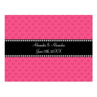 Pink hearts wedding favors postcards