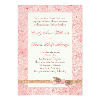 Pink Hearts Wedding Invitation