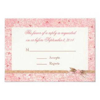Pink Hearts Wedding RSVP Cards