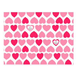 Pink Hearts with 2 Smiling Hearts Postcard