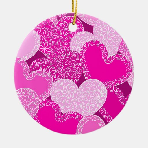 Pink Hearts with flowers ornament