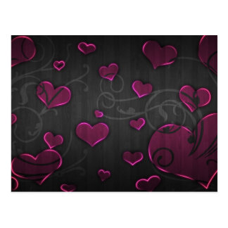 Pink Hearts with silver swirl lines Florish Wood Postcard