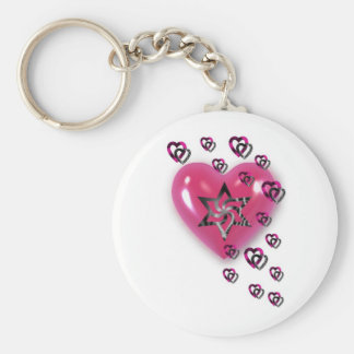 Pink Hearts with Star Basic Round Button Keychain