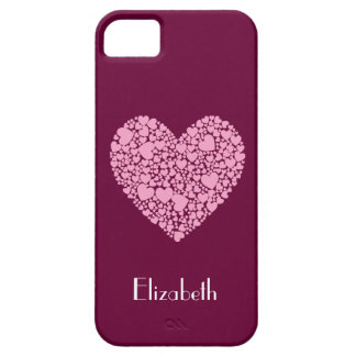 Pink Hearts within a Heart-Berry+Name iPhone SE/5/5s Case