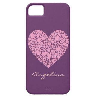 Pink Hearts within a Heart-Purple iPhone SE/5/5s Case