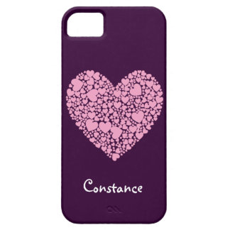 Pink Hearts within a Heart-Purple+Name iPhone SE/5/5s Case