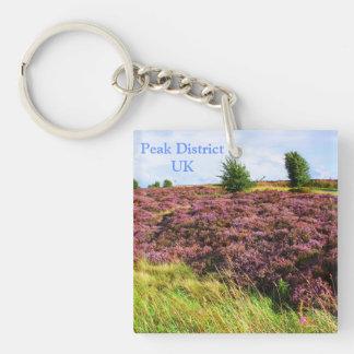 Pink heather in Peak District, UK Keychain