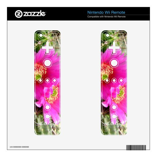 Pink Hedgehog cactus flower skin Skins For The Wii Remote