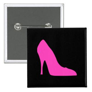 Pink Heel on Black Pinback Button