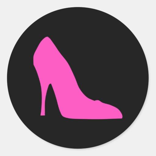 Pink Heel on Black Round Stickers