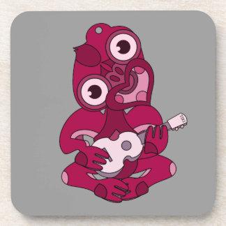 Pink Hei Tiki playing ukelele Coaster