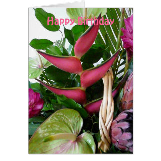 Pink Heliconia Green Anthuriums Tropical Flowers Greeting Cards