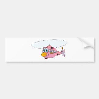 Pink Helicopter Cartoon Car Bumper Sticker