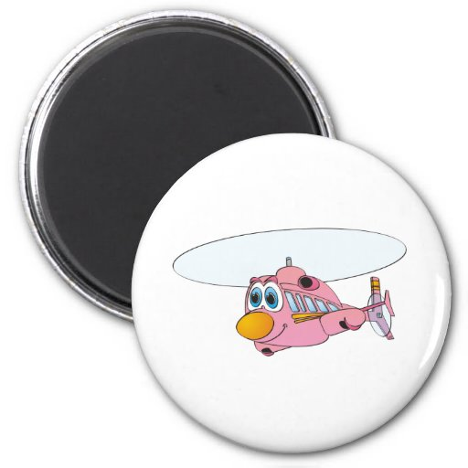 Pink Helicopter Cartoon Refrigerator Magnet