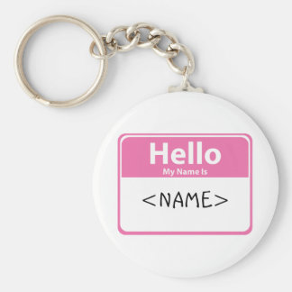 Pink Hello My Name is, <NAME> Keychain