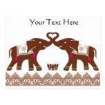 Pink Henna Love Elephants Postcard