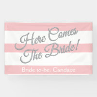 Pink, Here Comes The Bride, Bridal Shower Banner