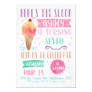 36734e4372a Pink Heres The Scoop Ice-Cream Birthday Invitation