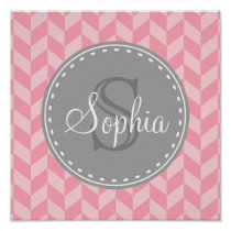Pink Herringbone Chevron Grey Monogram Poster