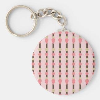 Pink herringbone tweed stripe preppy pattern print basic round button keychain