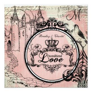 Pink Herringbone Unconditional Love Wedding Invite