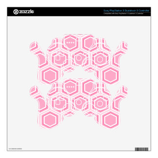 Pink Hexagon Pattern Skins For PS3 Controllers
