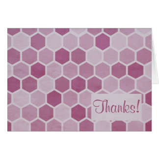 Pink Hexagons Thank You Note Card