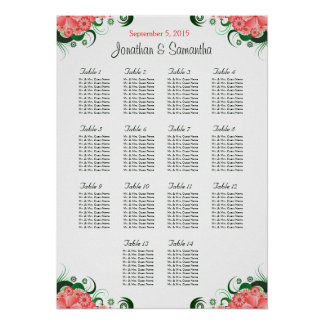 Pink Hibiscus 14 Wedding Tables Seating Charts Poster