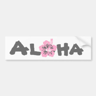pink hibiscus aloha flower L Bumper Sticker