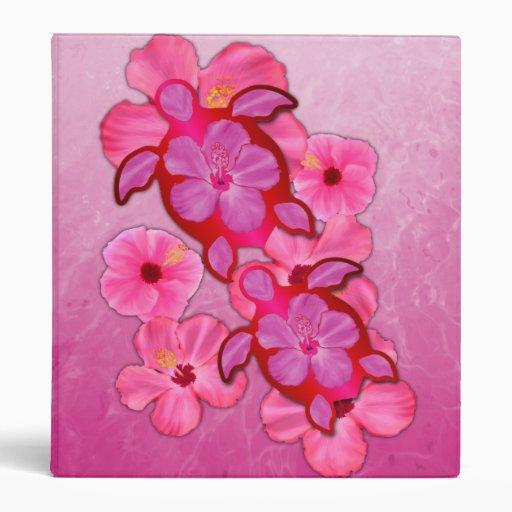 Pink Hibiscus And Honu Turtles 3 Ring Binder