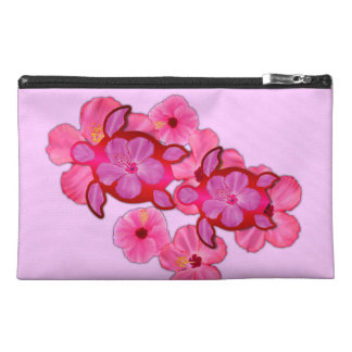 Pink Hibiscus And Honu Turtles Travel Accessories Bag