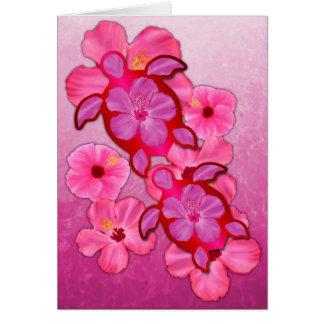 Pink Hibiscus And Honu Turtles Greeting Cards