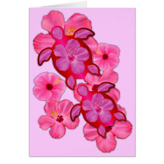 Pink Hibiscus And Honu Turtles Greeting Card