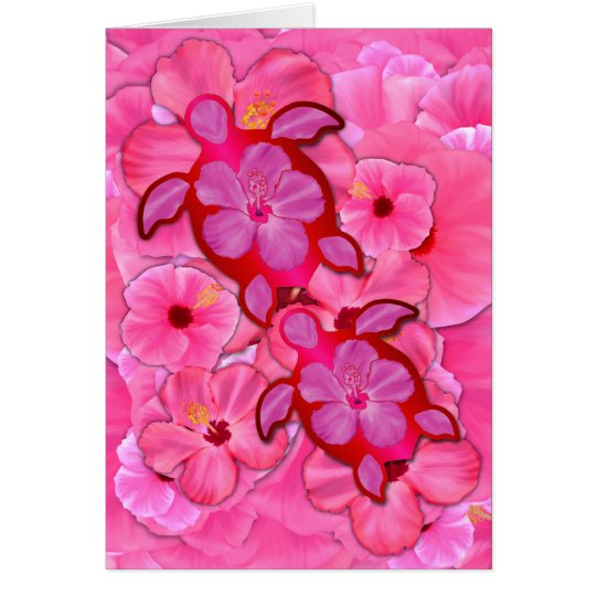 Pink Hibiscus And Honu Turtles Card