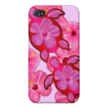 Pink Hibiscus And Honu Turtles Cases For iPhone 4
