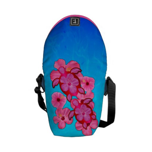 Pink Hibiscus And Honu Turtles Courier Bag