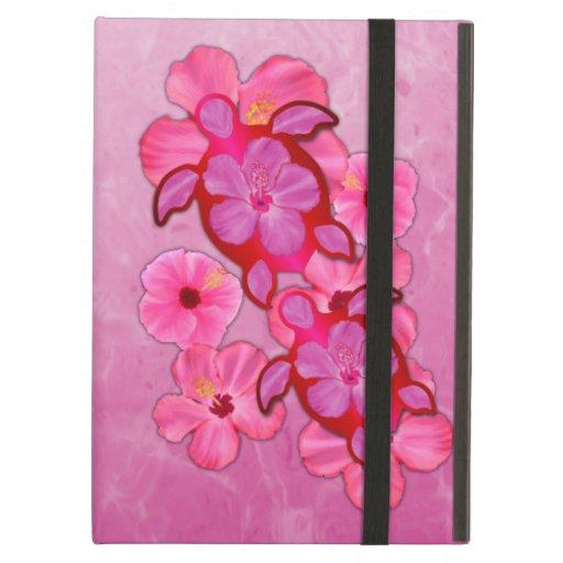 Pink Hibiscus And Honu Turtles iPad Air Cover