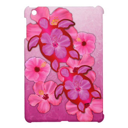 Pink Hibiscus And Honu Turtles iPad Mini Cover