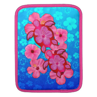 Pink Hibiscus And Honu Turtles Sleeves For iPads