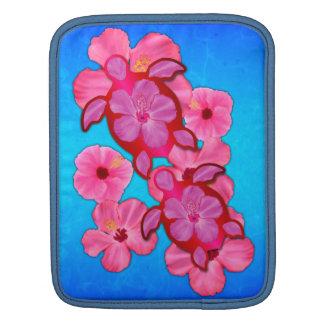 Pink Hibiscus And Honu Turtles iPad Sleeve